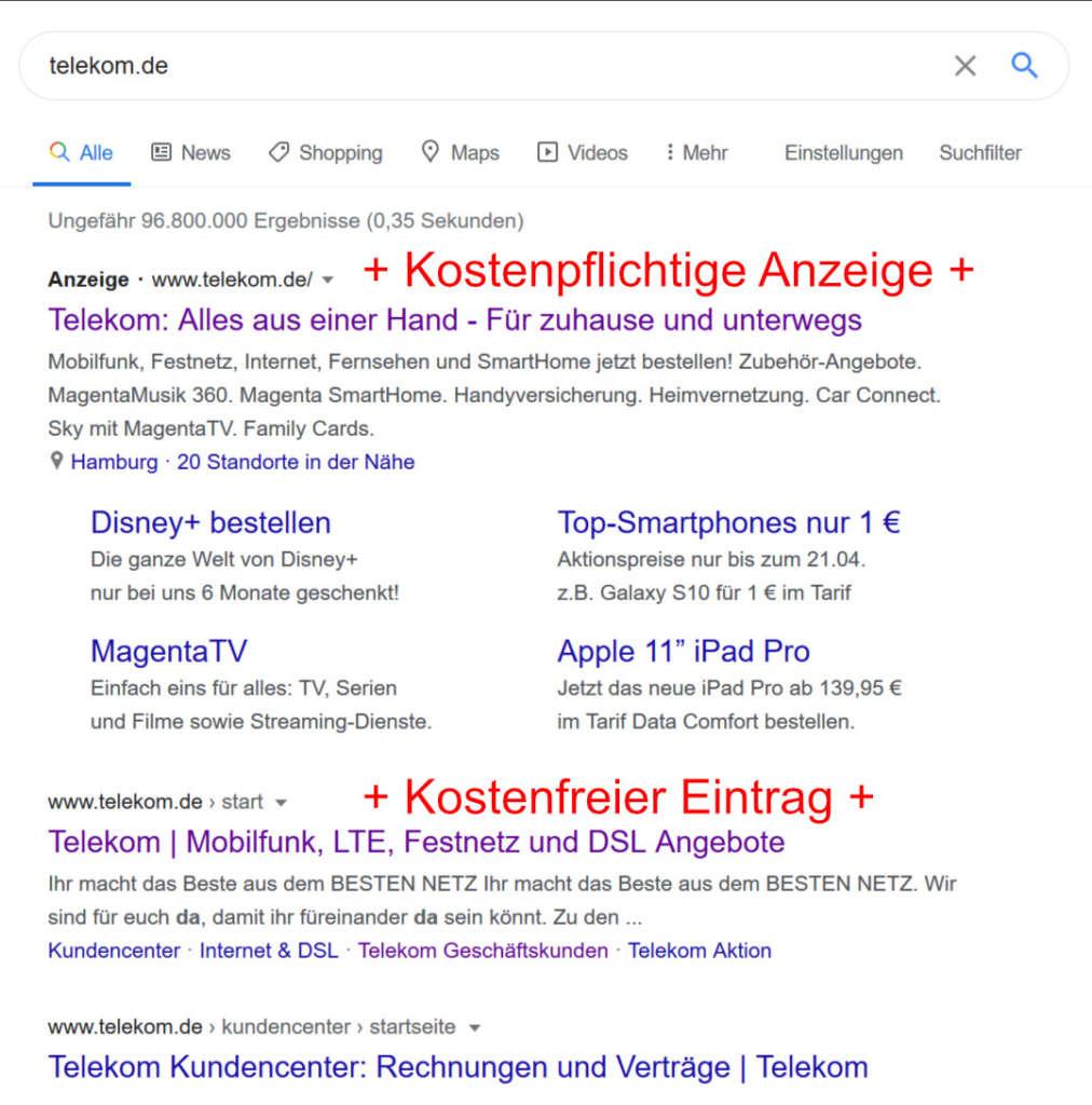 Suche nach telekom.de