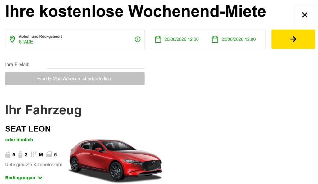 Kostenfreie Wochenendmiete Europcar Privilege